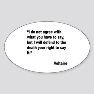 Voltaire Free Speech Quote Oval Sticker